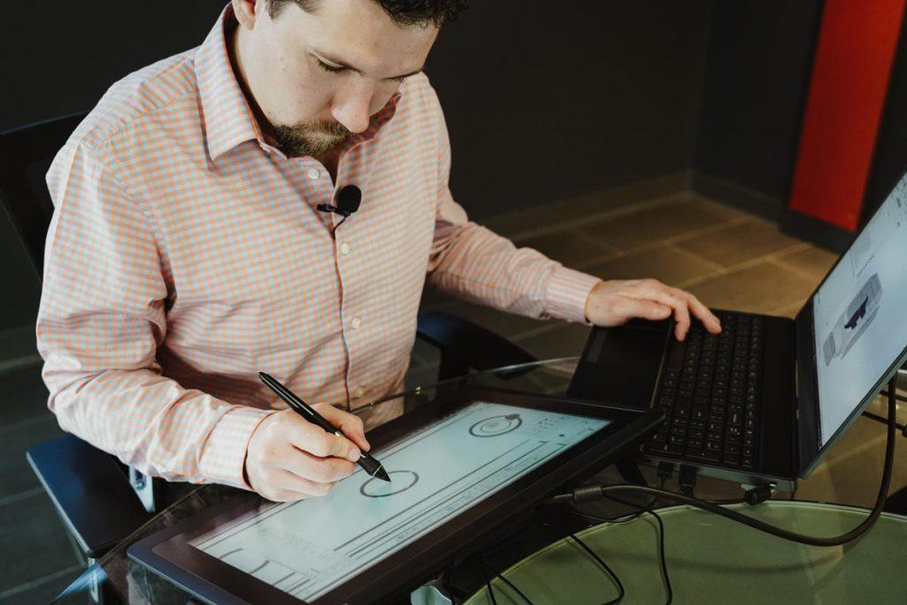 designer working on a tablet