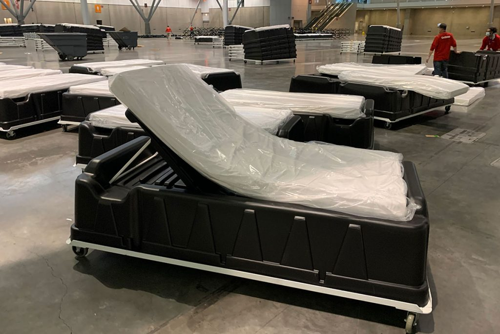Trienda hospital beds wrapped in plastic