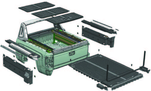 rendering of all the plastic pieces on the back of a truck